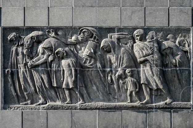 Oostzijde monument voor de 70e verjaardag van de opstand in het getto van warschau in warschau