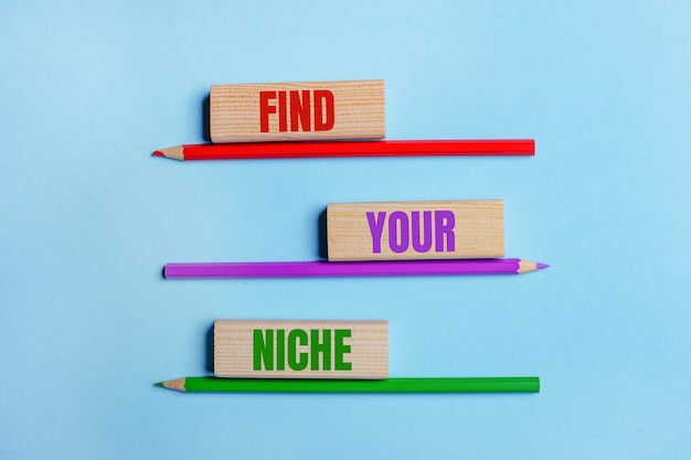 Op een blauwe achtergrond, drie kleurpotloden, drie houten blokken met de tekst find your niche