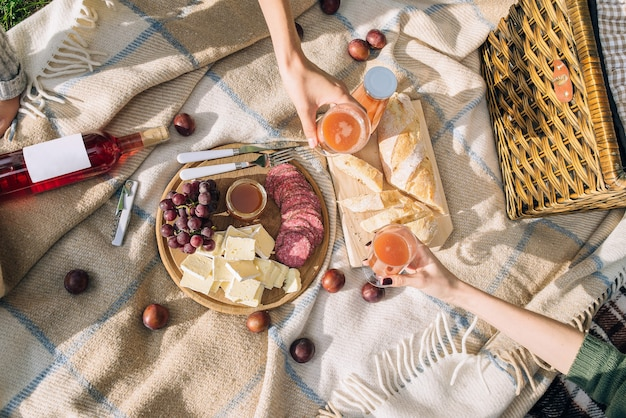 Op een bruine plaid staat een gezonde picknick op zomervakantie met vers gebakken brood, kaas en salami. meisjes drinken multifruitsap in het park.