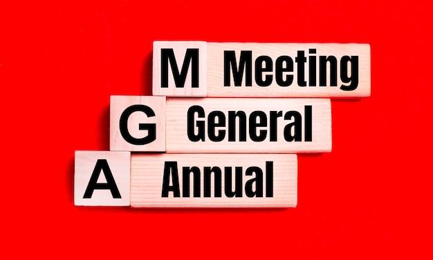 Op een felrode achtergrond, lichte houten blokken en kubussen met de tekst agm annual general meeting