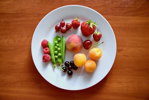 Op een groot wit bord staan verschillende soorten fruit en bessen