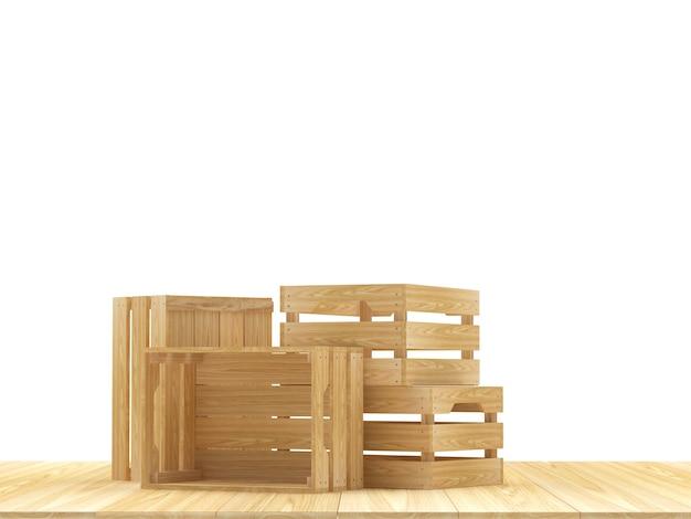 Op een houten staan meerdere houten kisten