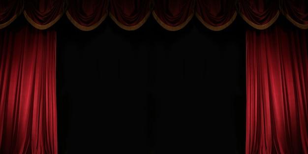 Op een kier rood gordijn op het podium van het theater prachtige achtergrond met ruimte voor tekst voor uw bericht