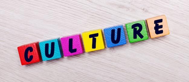 Op een lichte houten muur op veelkleurige heldere houten kubussen het woord cultuur