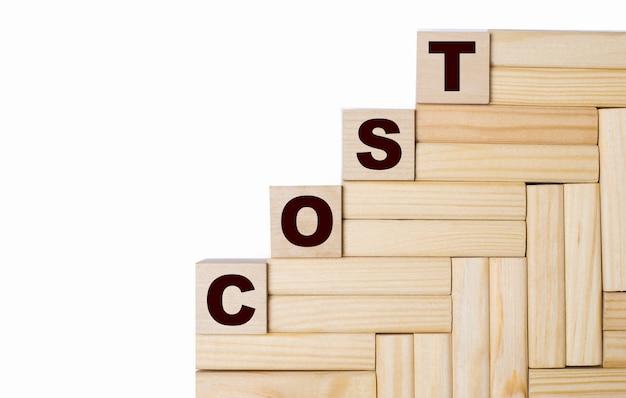 Op een lichte ondergrond, houten blokken en kubussen met de tekst cost
