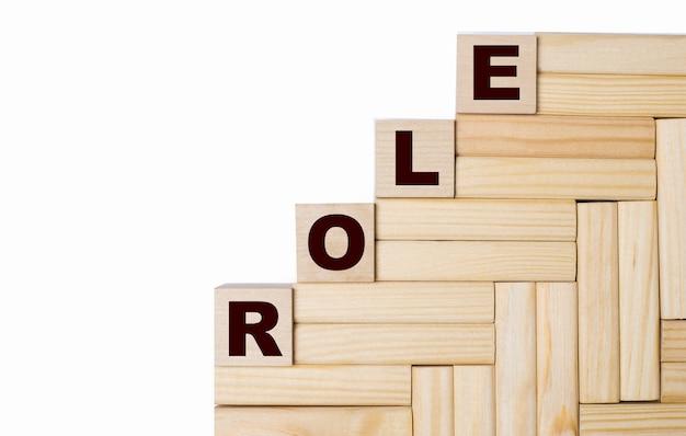 Op een lichte ondergrond, houten blokken en kubussen met de tekst role