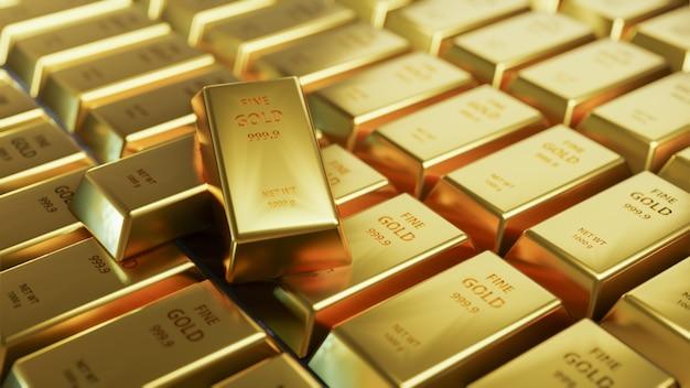 Op een rij regeling van de close-up de glanzende goudstaaf.
