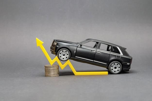Op een stapel munten staat een zwarte speelgoedauto en een gele pijl symboliseert de groei van de autoverkopen.