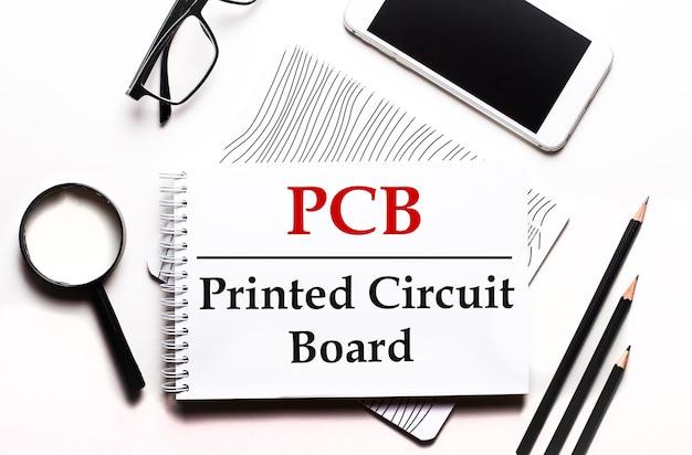 Op een witte achtergrond een bril, een vergrootglas, potloden, een smartphone en een notitieboekje met de tekst pcb printed circuit board