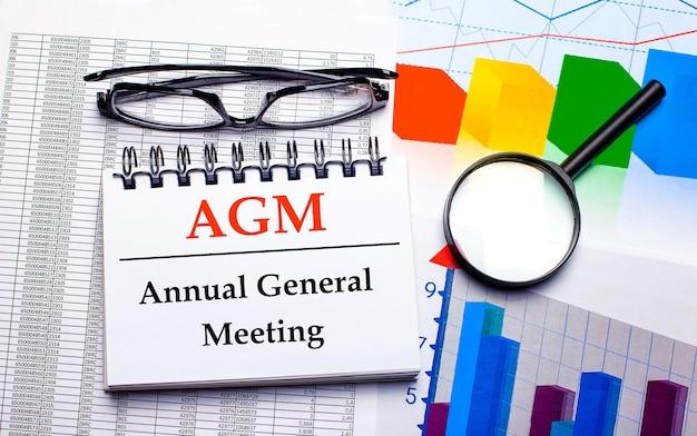 Op het bureaublad staan een bril, een vergrootglas, kleurenkaarten en een wit notitieboekje met de tekst agm annual general meeting