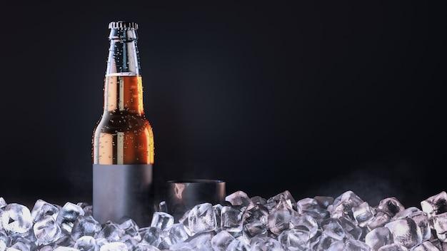 Op het ijs staan bierflesjes en bierpullen. 3d geef en illustratie terug.