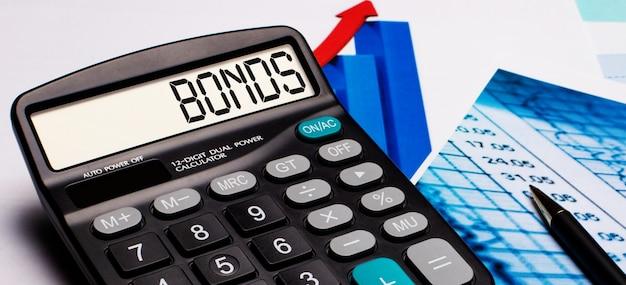 Op het rekenmachinedisplay staat het opschrift bonds