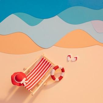 Op papier gemaakt zomerstrandarrangement