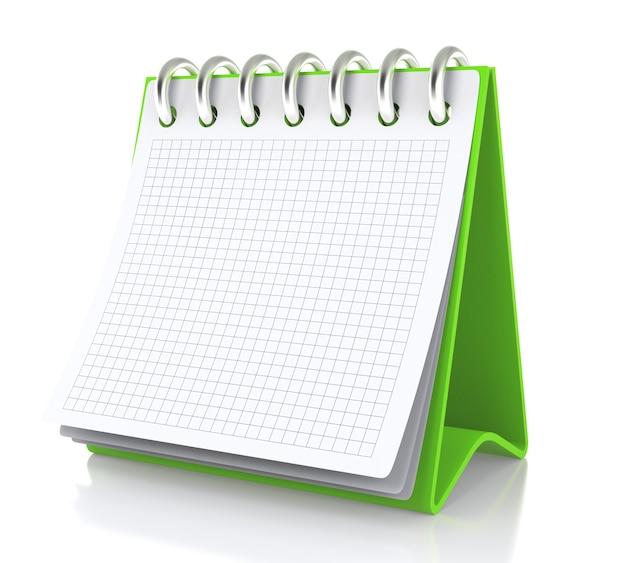 Op tafel staat een papieren witte kalender. geïsoleerd op een witte achtergrond - 3d illustratie
