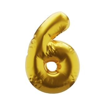 Opblaasbaar nummer 6 zes in gouden kleur. opblaasbare symbolen van gouden kleur voor uw ontwerp. 3d render.