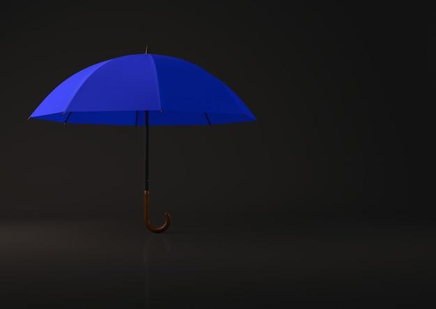 Open blauwe paraplu op zwarte achtergrond.