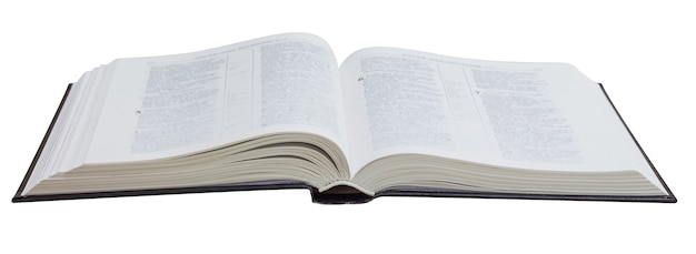 Open boek, bijbel, op een geïsoleerdw wit