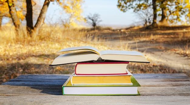 Open boek in een stapel boeken op een tafel in een herfstpark.