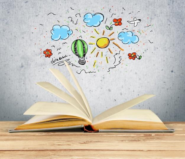 Open boek met tekening op achtergrond
