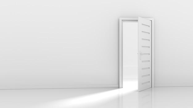 Open deur en lichtstroom 3d-rendering Premium Foto