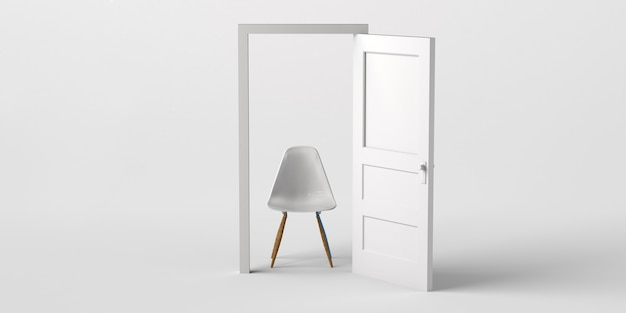 Open deur met bureaustoel. ruimte kopiëren. 3d illustratie.