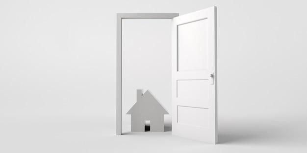Open deur met huis. vastgoedmarkt. ruimte kopiëren. 3d illustratie.