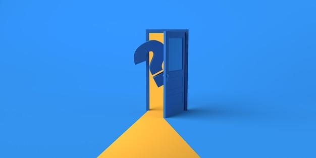 Open deur met ondervraging die eruit komt. ruimte kopiëren. 3d illustratie.