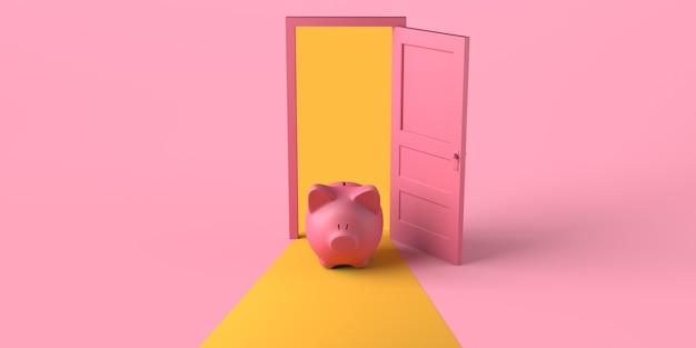 Open deur met spaarvarken. ruimte kopiëren. 3d illustratie.