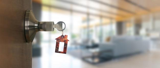Open deur thuis met sleutel in sleutelgat, nieuw huisvestingsconcept