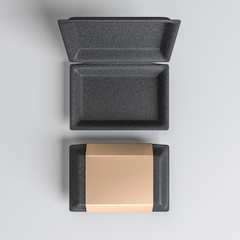 Open en gesloten doos met gouden deksel