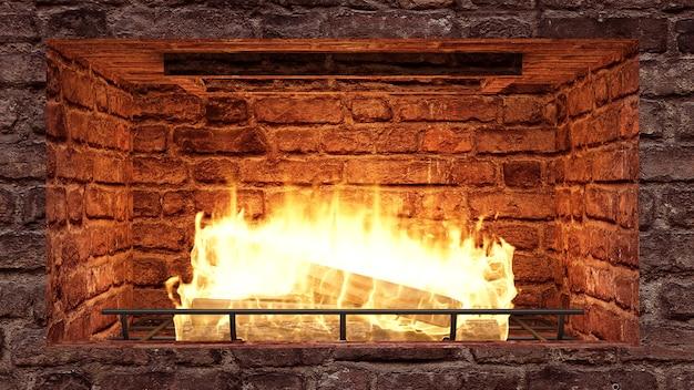 Open haard gemaakt van rode bakstenen met houten stammen en vuurvlam