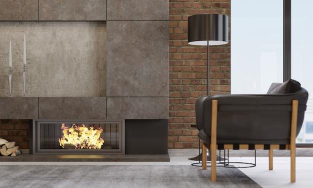 Open haard in een moderne woonkamer met lederen fauteuil en zwarte lamp. 3d-rendering.