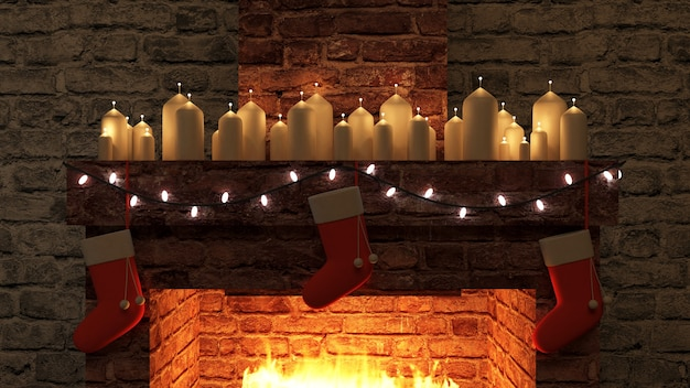 Open haard met groep brandende kaarsenloos