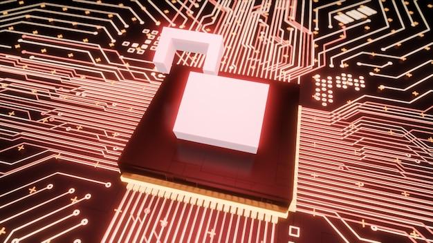 Open hangslot symbool microchip op moederbord circuit binnen gehackte computerhardware, 3d-rendering lek digitale gegevensbescherming en lage cyberbeveiliging bedrijfsconcept achtergrond