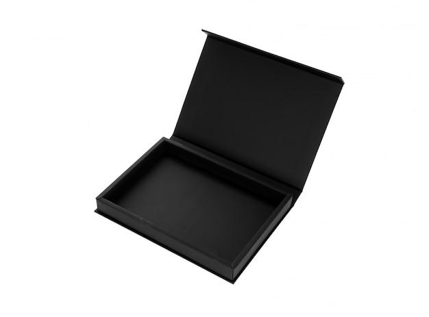 Open houten zwarte doos