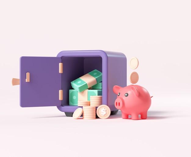 Open kluis of kluis met muntstapels, een hoop geld en spaarvarken, geldbesparend en opgeslagen geldconcept. 3d render illustratie