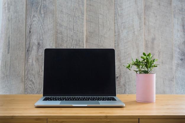 Open laptop met kleine potinstallatie op houten bureau