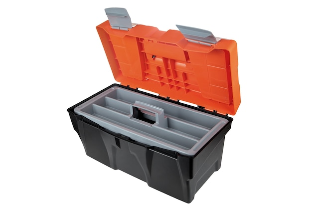 Open lege plastic gereedschapskist zwart en oranje kleur.