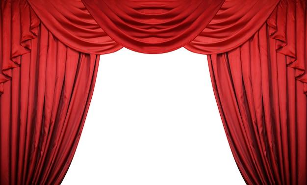 Open rode gordijnen op witte achtergrond. theater- of filmpresentatie of aankondiging van bioscoopprijs.