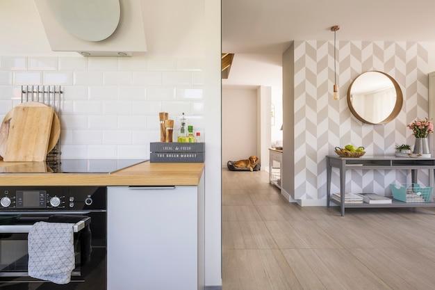 Open ruimte keukeninterieur met moderne oven en kruiden op aanrecht in echte foto van huis in scandinavische stijl met hond op de achtergrond