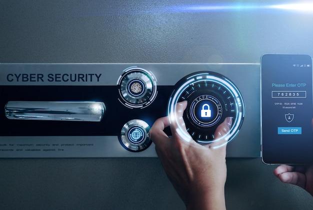 Open safe met cyber-beveiligingsbescherming vingerafdruk en eenmalig wachtwoord.