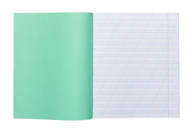 Open schoolnotitieboekje in een smalle lijn met een schuine streep voor het leren van spelling, bespotten met geïsoleerde exemplaarruimte