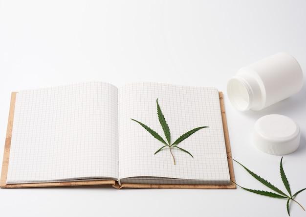 Open spiraalvormig notitieboekje met lege witte bladen en groen hennepblad
