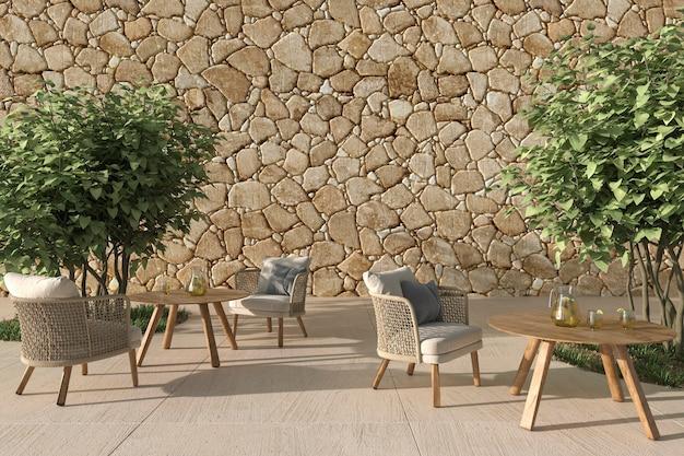 Open terrascafé in scandinavische stijl met rieten meubels en bomen 3d render illustratie