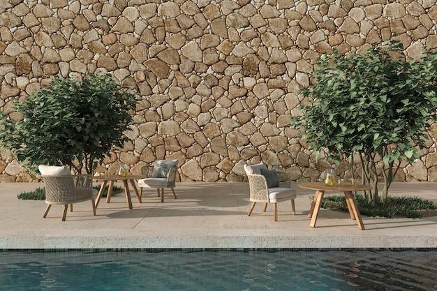 Open terrascafé in scandinavische stijl met zwembad en bomen 3d render illustratie