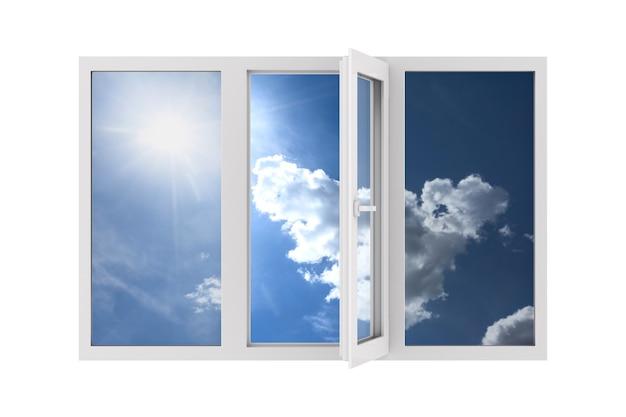 Open venster op witte achtergrond. geïsoleerde 3d-afbeelding