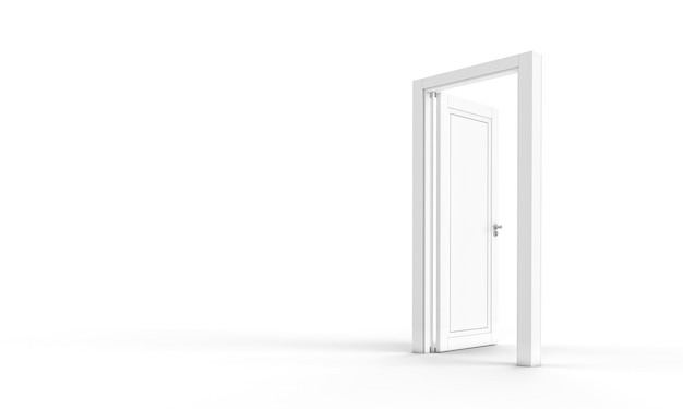 Open witte deur op een witte achtergrond, niemand in de buurt. 3d render.