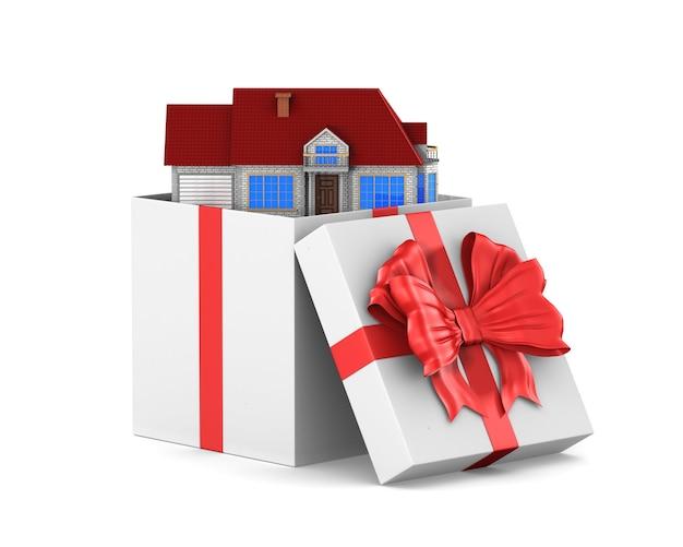 Open witte geschenkdoos en huis op witte ruimte