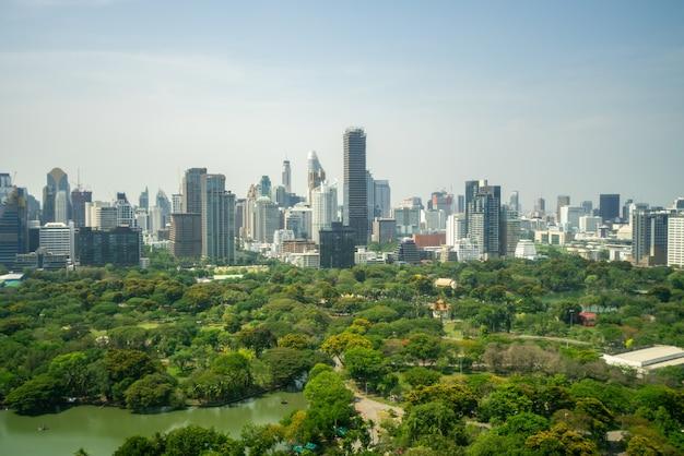 Openbaar park en hoogbouw stadsgezicht in het stadscentrum van de metropool