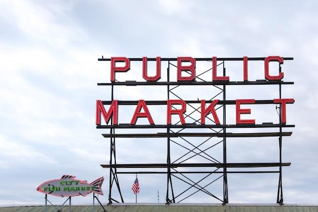 Openbare markt teken op snoek markt seattle